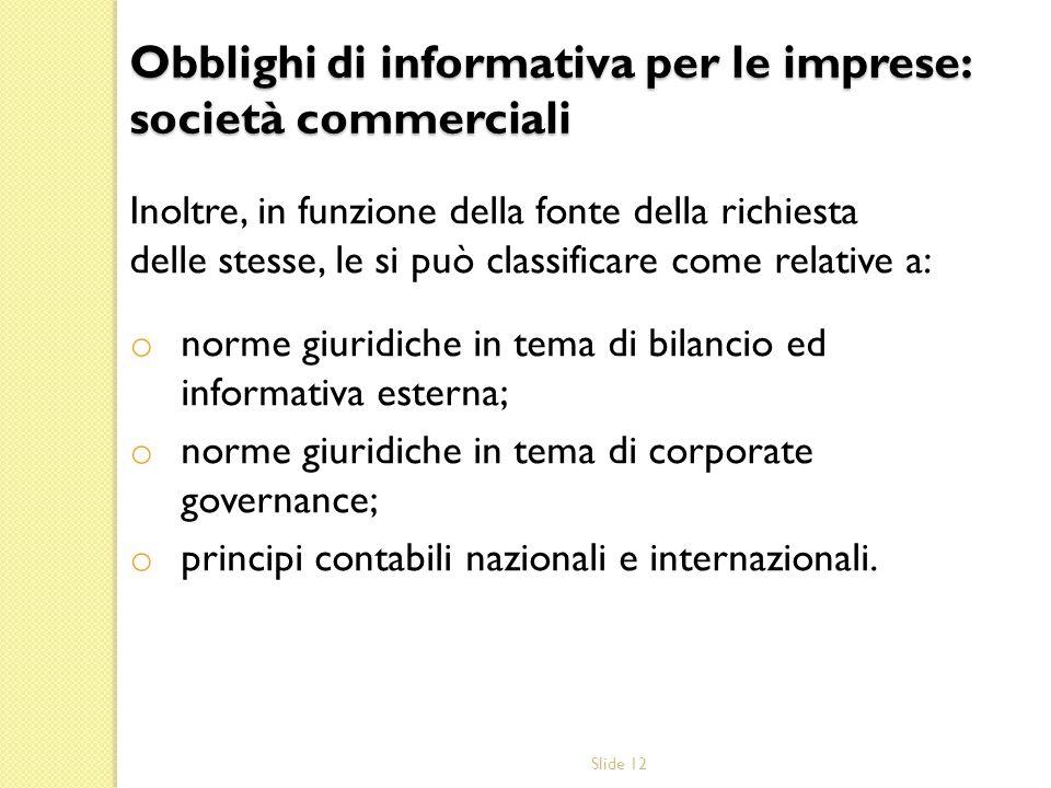 Obblighi di informativa per le imprese: società commerciali