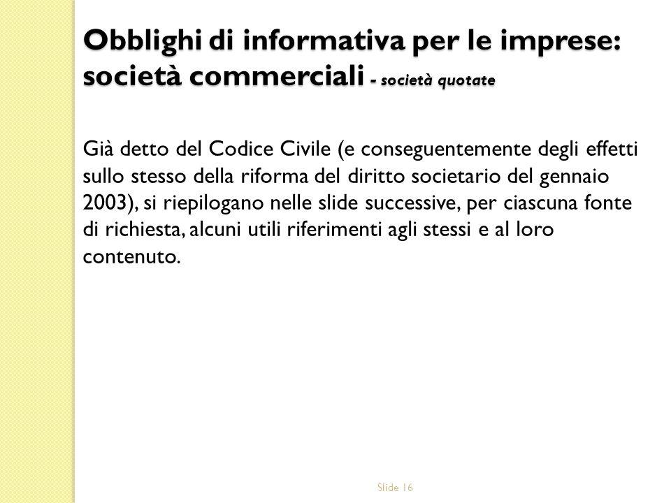 Obblighi di informativa per le imprese: società commerciali - società quotate