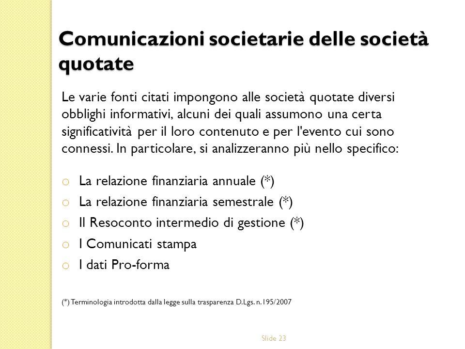 Comunicazioni societarie delle società quotate