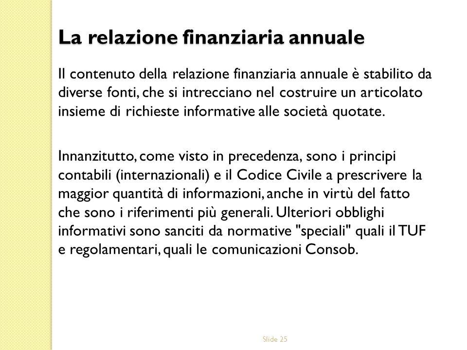 La relazione finanziaria annuale