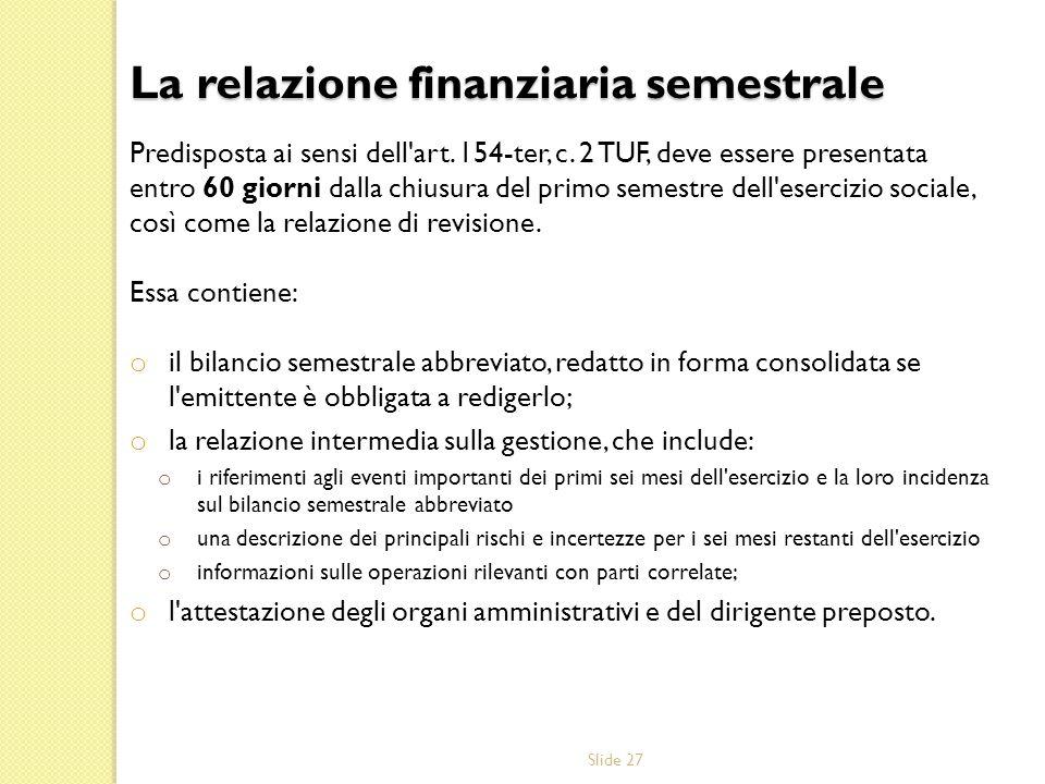 La relazione finanziaria semestrale