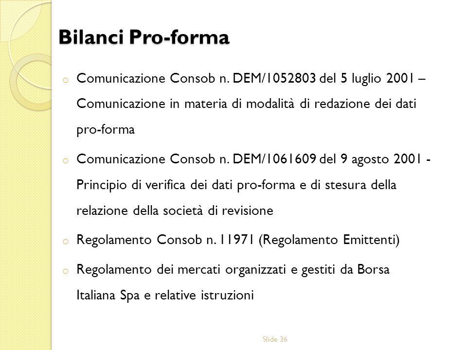 Bilanci Pro-forma Comunicazione Consob n. DEM/1052803 del 5 luglio 2001 – Comunicazione in materia di modalità di redazione dei dati pro-forma.