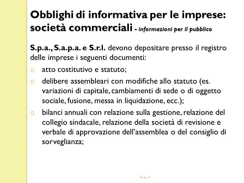 Obblighi di informativa per le imprese: società commerciali - informazioni per il pubblico