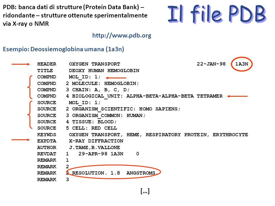 PDB: banca dati di strutture (Protein Data Bank) – ridondante – strutture ottenute sperimentalmente via X-ray o NMR