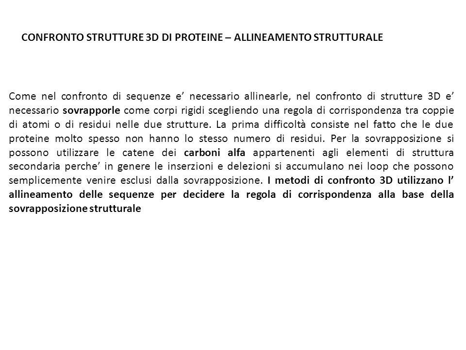 CONFRONTO STRUTTURE 3D DI PROTEINE – ALLINEAMENTO STRUTTURALE
