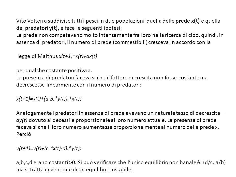 Vito Volterra suddivise tutti i pesci in due popolazioni, quella delle prede x(t) e quella dei predatori y(t), e fece le seguenti ipotesi:
