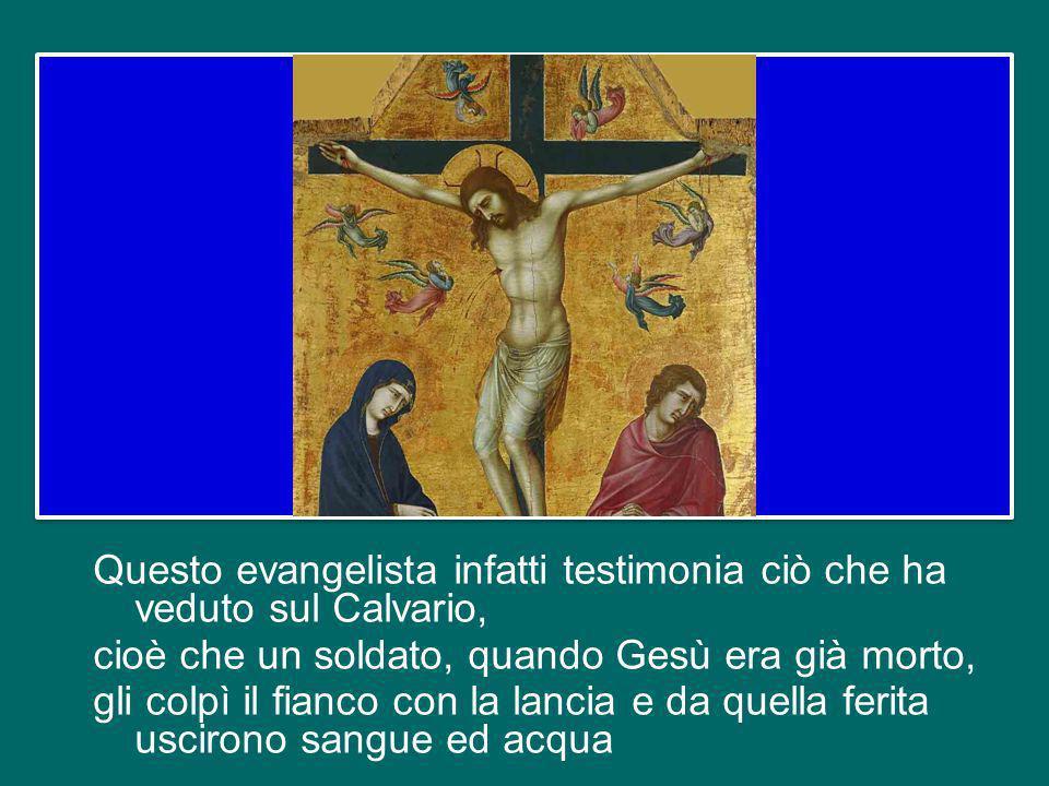Questo evangelista infatti testimonia ciò che ha veduto sul Calvario, cioè che un soldato, quando Gesù era già morto, gli colpì il fianco con la lancia e da quella ferita uscirono sangue ed acqua