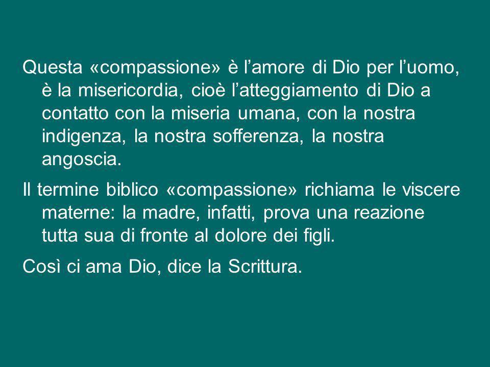 Questa «compassione» è l'amore di Dio per l'uomo, è la misericordia, cioè l'atteggiamento di Dio a contatto con la miseria umana, con la nostra indigenza, la nostra sofferenza, la nostra angoscia.