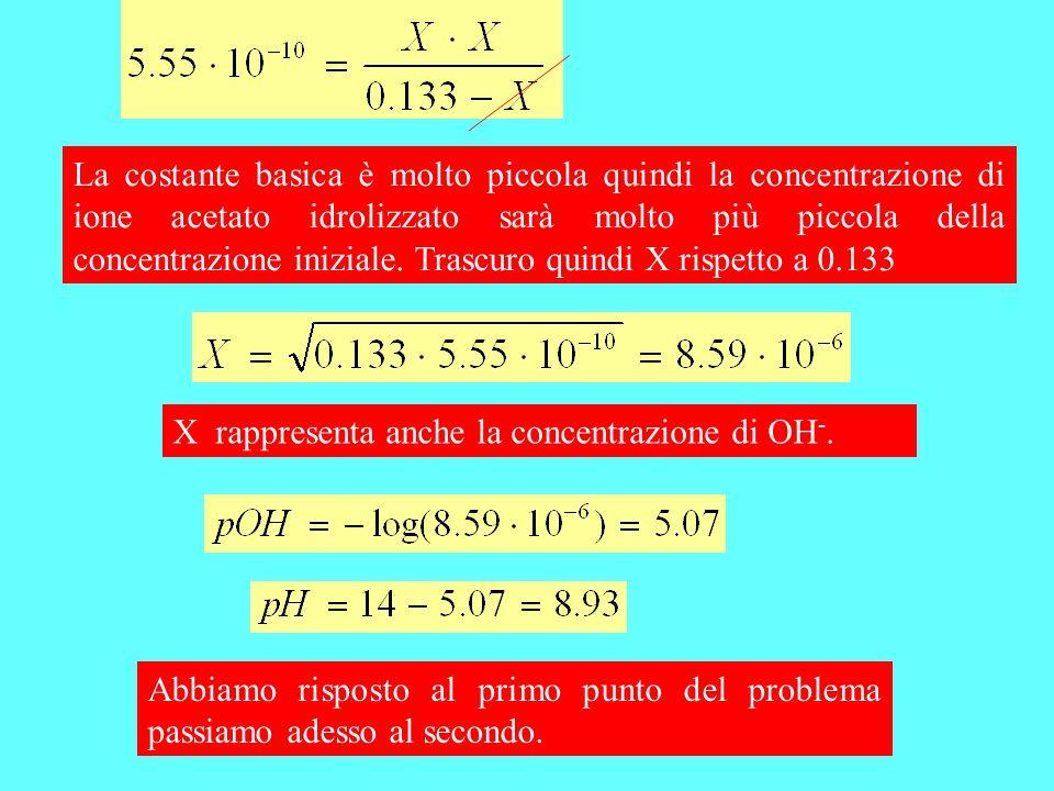 La costante basica è molto piccola quindi la concentrazione di ione acetato idrolizzato sarà molto più piccola della concentrazione iniziale. Trascuro quindi X rispetto a 0.133
