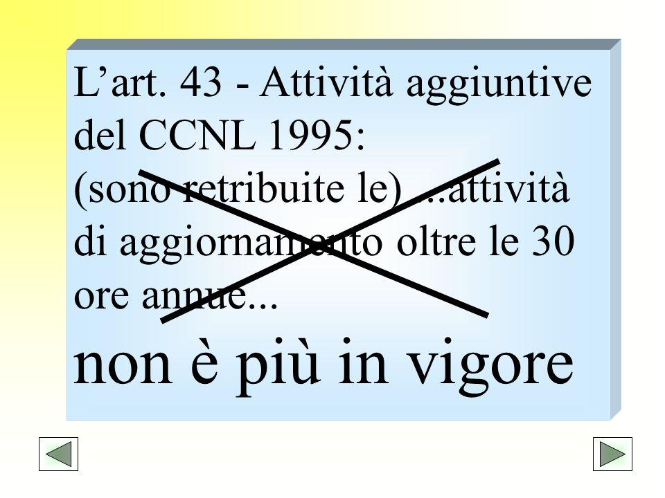 non è più in vigore L'art. 43 - Attività aggiuntive del CCNL 1995: