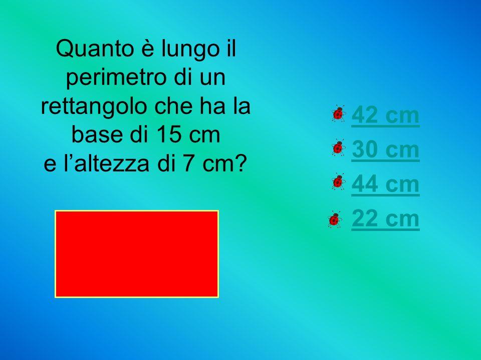 Quanto è lungo il perimetro di un rettangolo che ha la base di 15 cm e l'altezza di 7 cm