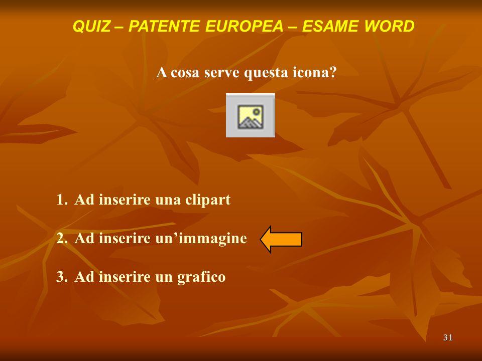 QUIZ – PATENTE EUROPEA – ESAME WORD A cosa serve questa icona