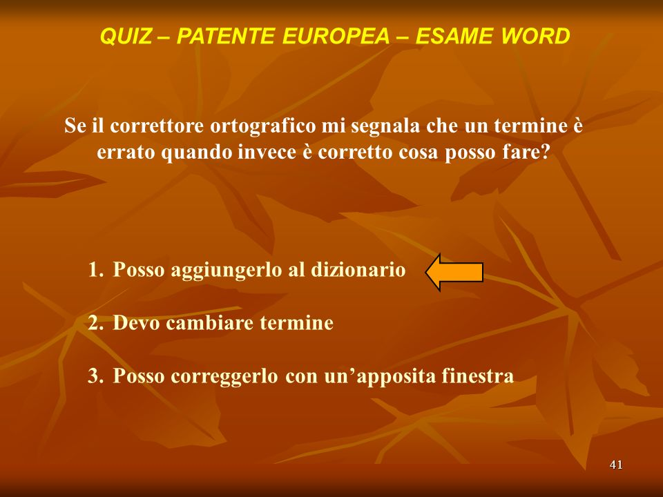 QUIZ – PATENTE EUROPEA – ESAME WORD