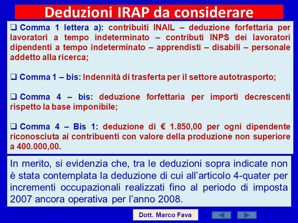 Deduzioni IRAP da considerare