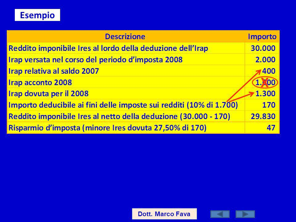 Esempio X Dott. Marco Fava