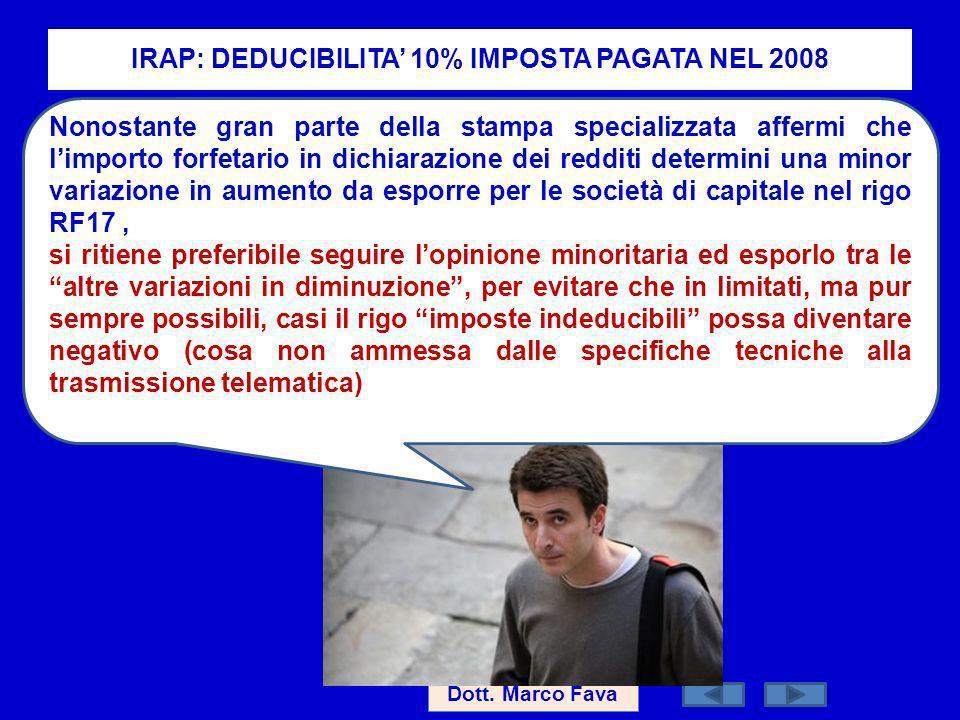 IRAP: DEDUCIBILITA' 10% IMPOSTA PAGATA NEL 2008