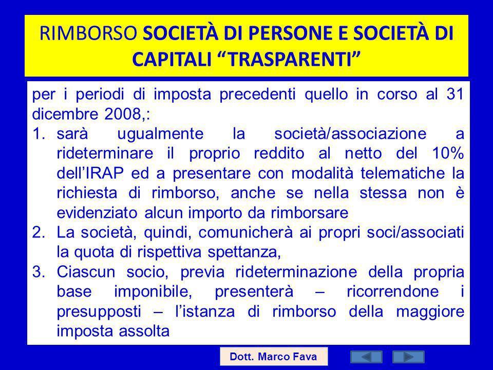 RIMBORSO SOCIETÀ DI PERSONE E SOCIETÀ DI CAPITALI TRASPARENTI