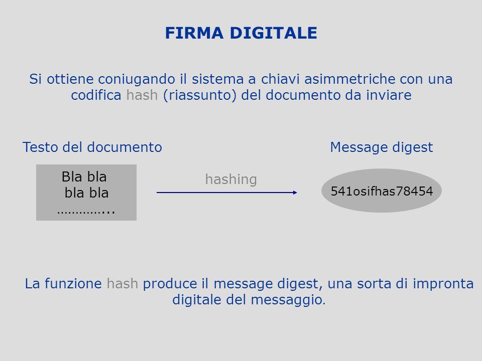 FIRMA DIGITALE Si ottiene coniugando il sistema a chiavi asimmetriche con una codifica hash (riassunto) del documento da inviare.