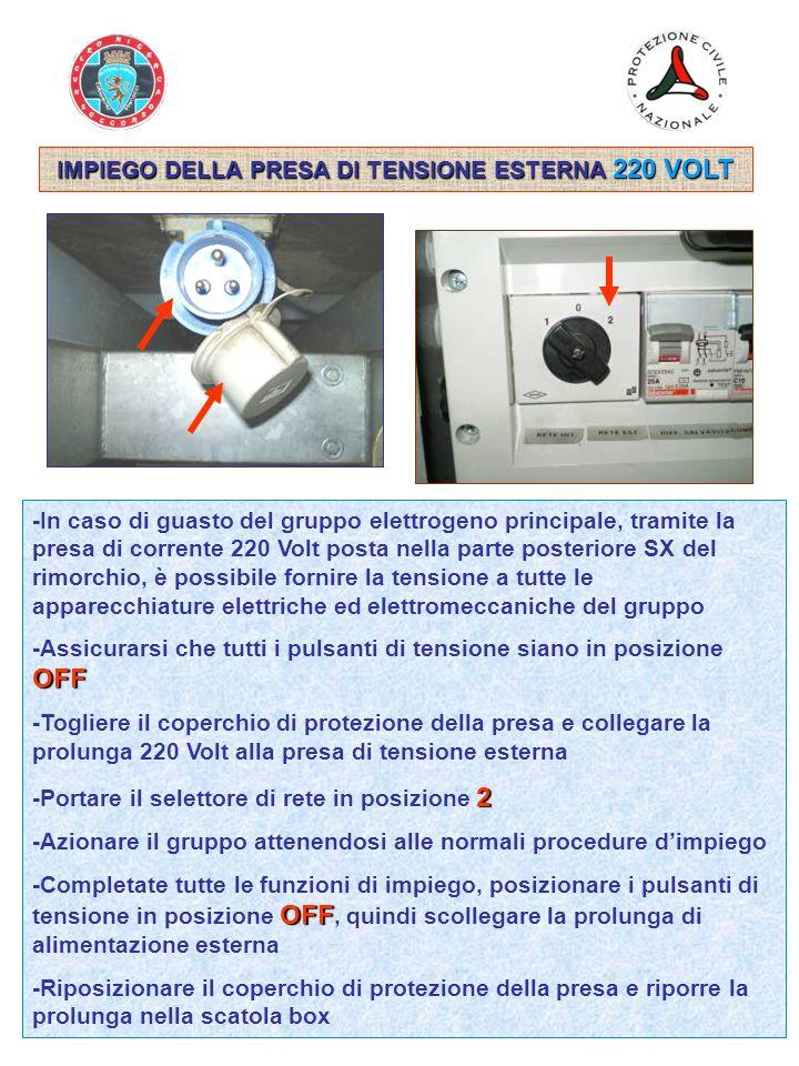 IMPIEGO DELLA PRESA DI TENSIONE ESTERNA 220 VOLT