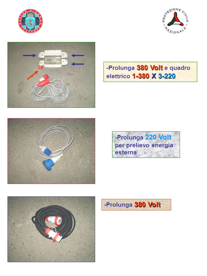 -Prolunga 380 Volt e quadro elettrico 1-380 X 3-220