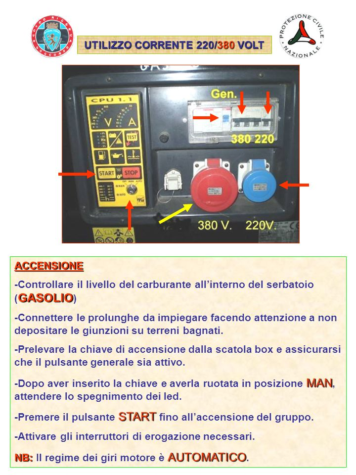UTILIZZO CORRENTE 220/380 VOLT