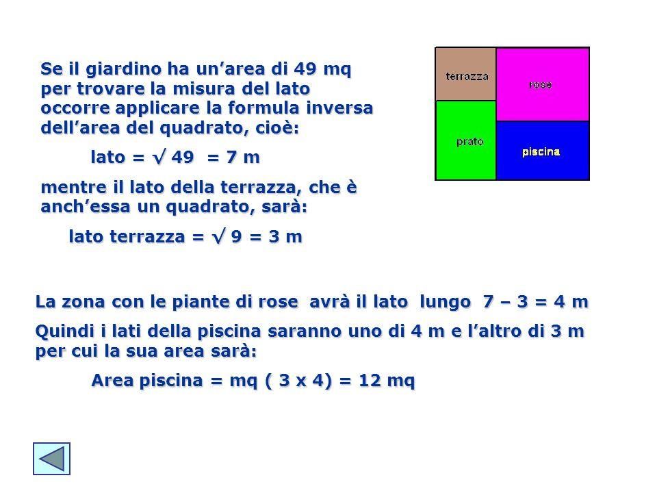 Se il giardino ha un'area di 49 mq per trovare la misura del lato occorre applicare la formula inversa dell'area del quadrato, cioè: