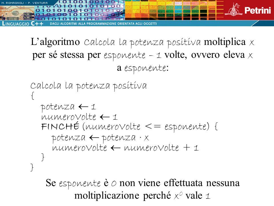 L'algoritmo Calcola la potenza positiva moltiplica x per sé stessa per esponente – 1 volte, ovvero eleva x a esponente: