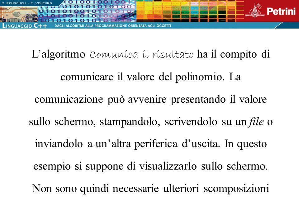 L'algoritmo Comunica il risultato ha il compito di comunicare il valore del polinomio.