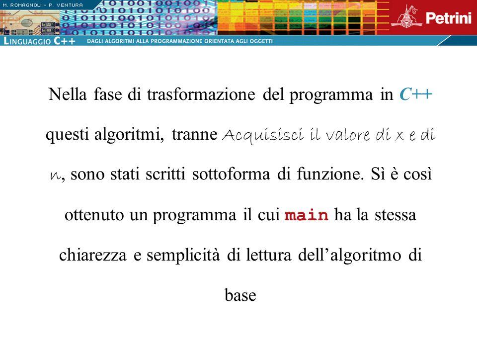 Nella fase di trasformazione del programma in C++ questi algoritmi, tranne Acquisisci il valore di x e di n, sono stati scritti sottoforma di funzione.