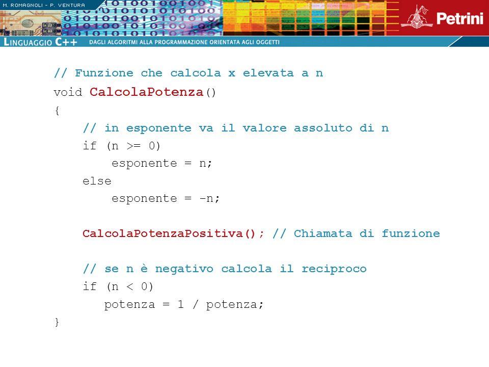 // Funzione che calcola x elevata a n