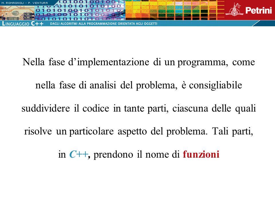 Nella fase d'implementazione di un programma, come nella fase di analisi del problema, è consigliabile suddividere il codice in tante parti, ciascuna delle quali risolve un particolare aspetto del problema.