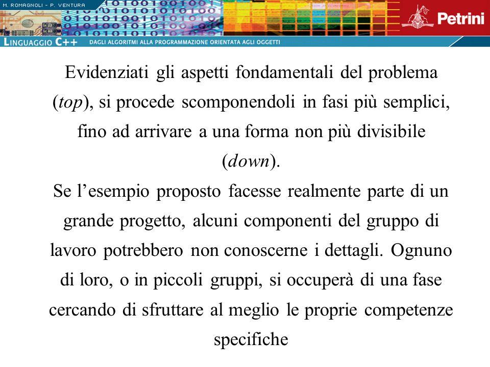 Evidenziati gli aspetti fondamentali del problema (top), si procede scomponendoli in fasi più semplici, fino ad arrivare a una forma non più divisibile (down).