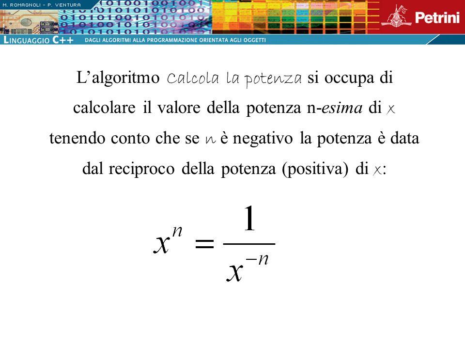 L'algoritmo Calcola la potenza si occupa di calcolare il valore della potenza n-esima di x tenendo conto che se n è negativo la potenza è data dal reciproco della potenza (positiva) di x: