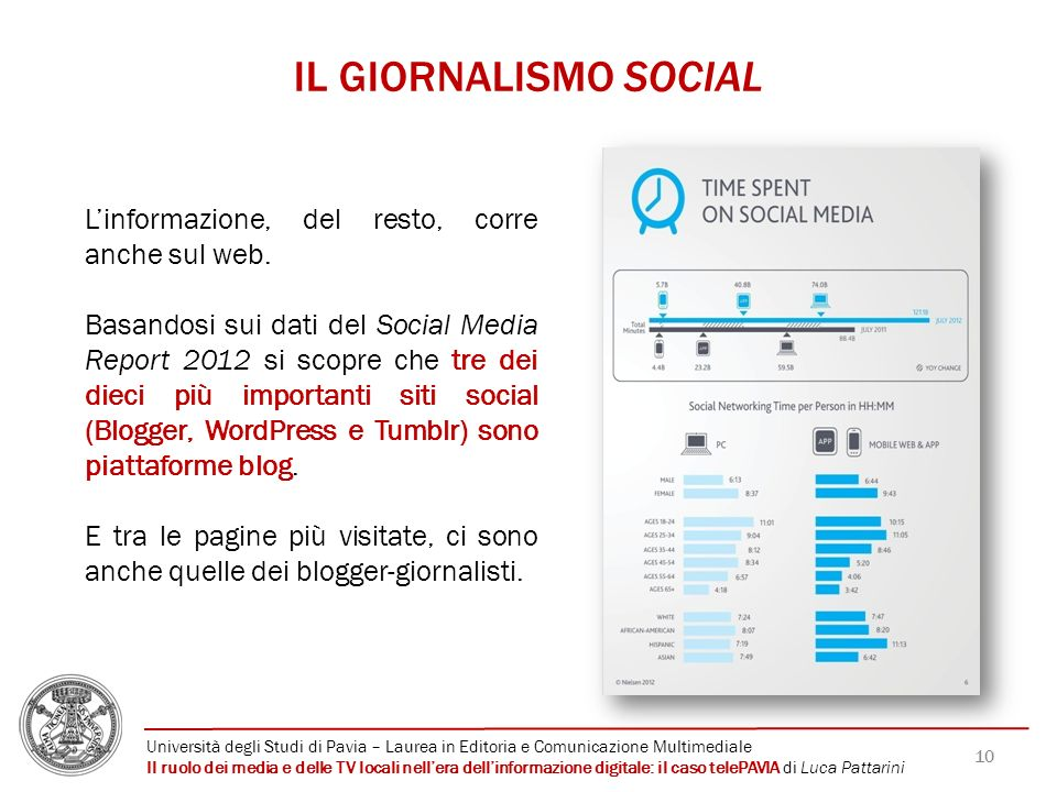 IL GIORNALISMO SOCIAL L'informazione, del resto, corre anche sul web.