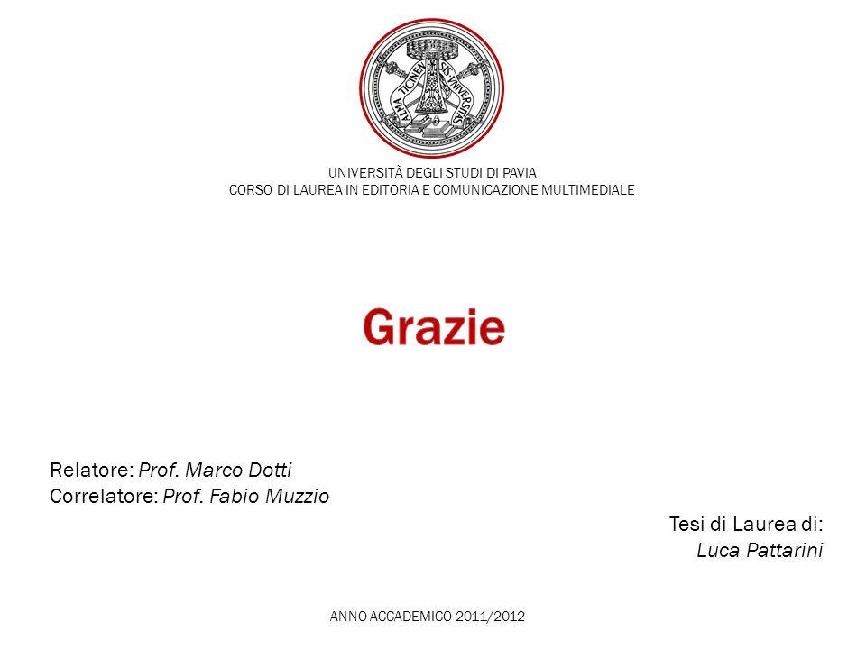 Grazie Relatore: Prof. Marco Dotti Correlatore: Prof. Fabio Muzzio