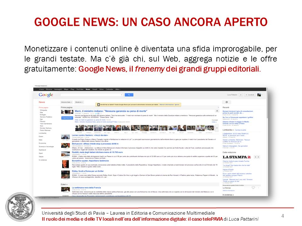 GOOGLE NEWS: UN CASO ANCORA APERTO