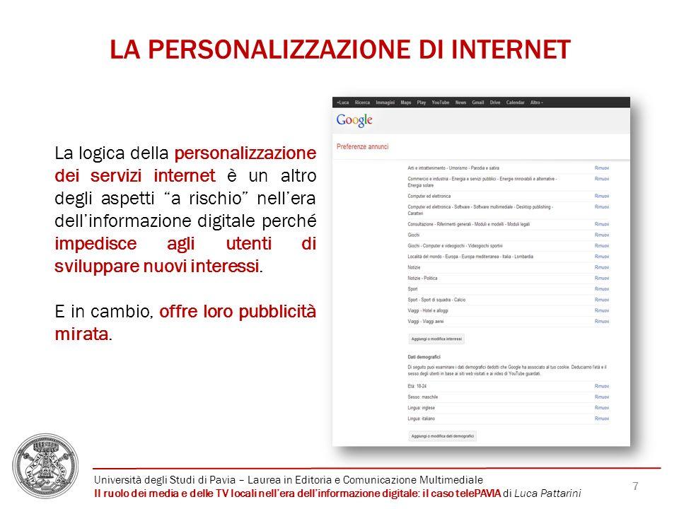 LA PERSONALIZZAZIONE DI INTERNET