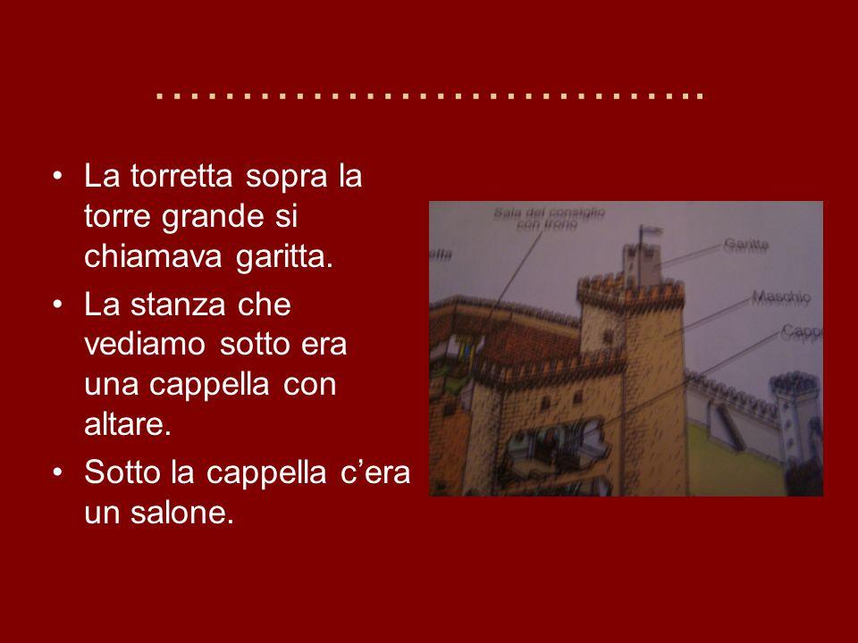 ………………………….. La torretta sopra la torre grande si chiamava garitta.