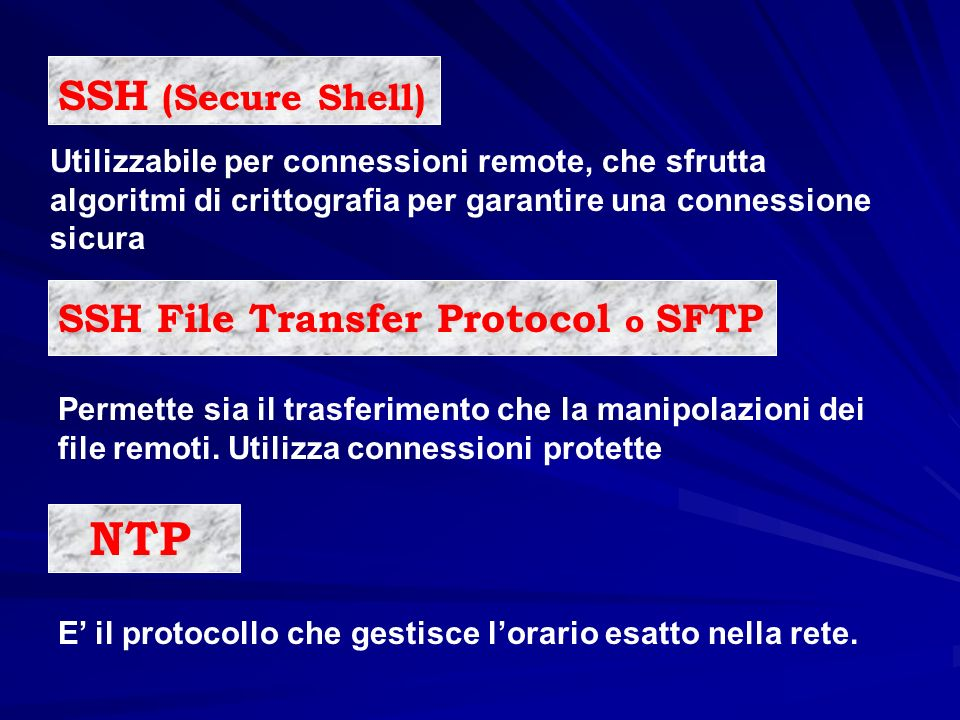 NTP SSH (Secure Shell) SSH File Transfer Protocol o SFTP