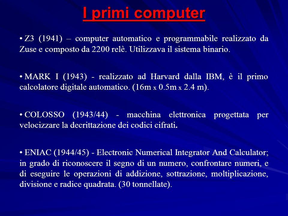 I primi computer Z3 (1941) – computer automatico e programmabile realizzato da Zuse e composto da 2200 relè. Utilizzava il sistema binario.