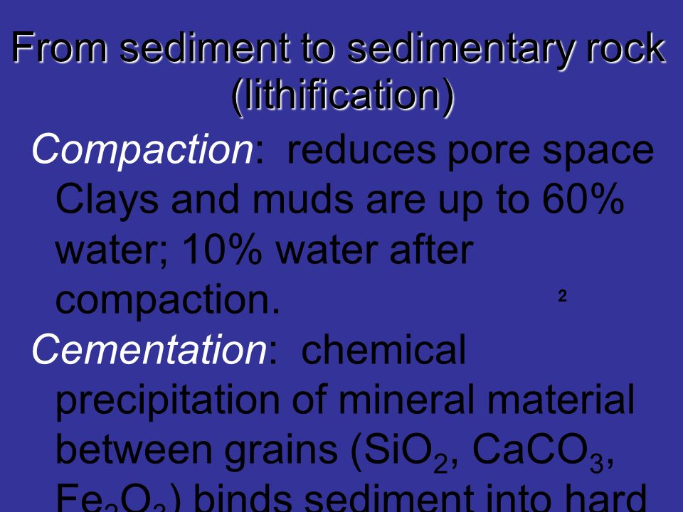 From sediment to sedimentary rock (lithification)