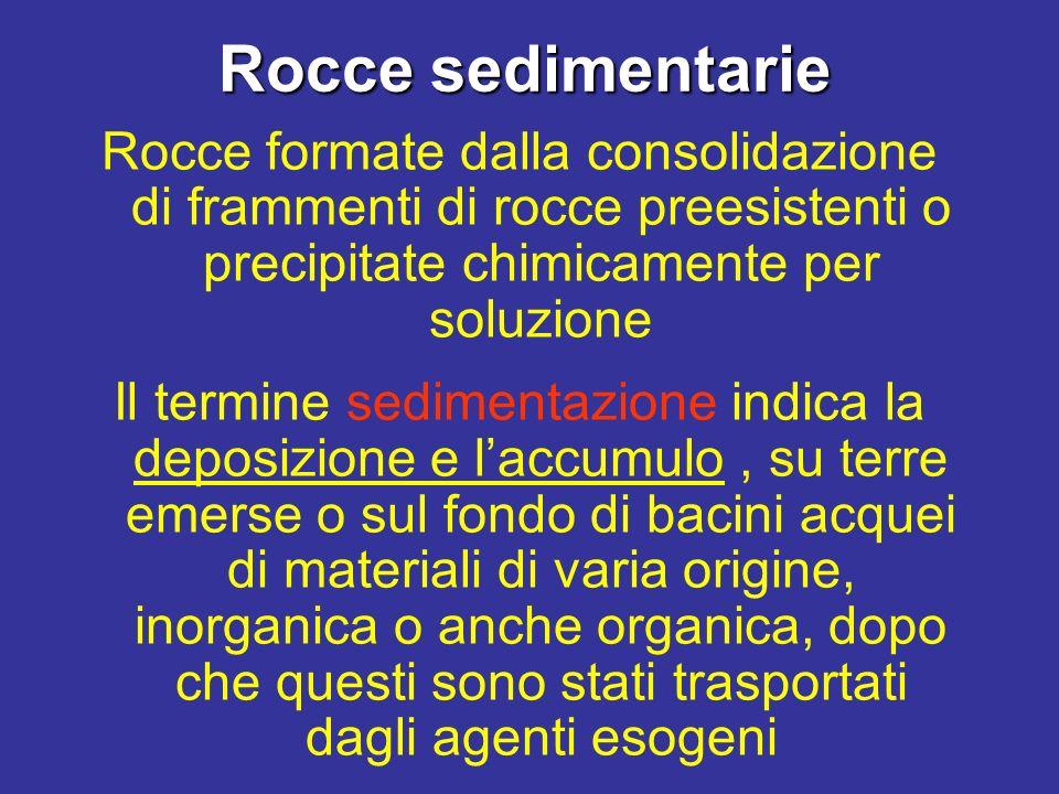 Rocce sedimentarie Rocce formate dalla consolidazione di frammenti di rocce preesistenti o precipitate chimicamente per soluzione.