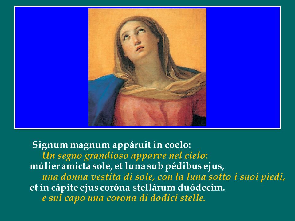 Signum magnum appáruit in coelo: Un segno grandioso apparve nel cielo: múlier amicta sole, et luna sub pédibus ejus, una donna vestita di sole, con la luna sotto i suoi piedi, et in cápite ejus coróna stellárum duódecim.
