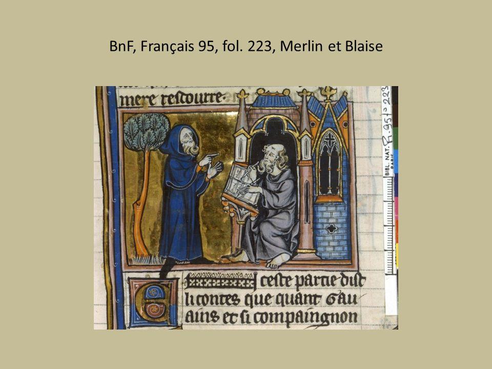 BnF, Français 95, fol. 223, Merlin et Blaise