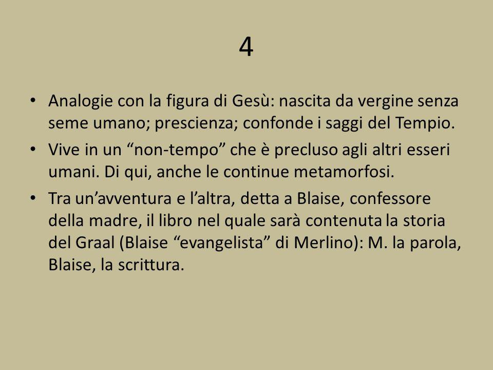 4 Analogie con la figura di Gesù: nascita da vergine senza seme umano; prescienza; confonde i saggi del Tempio.