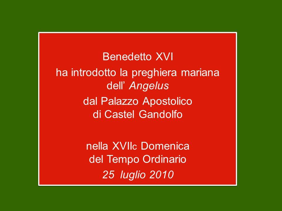 Benedetto XVI ha introdotto la preghiera mariana dell' Angelus dal Palazzo Apostolico di Castel Gandolfo nella XVIIc Domenica del Tempo Ordinario 25 luglio 2010