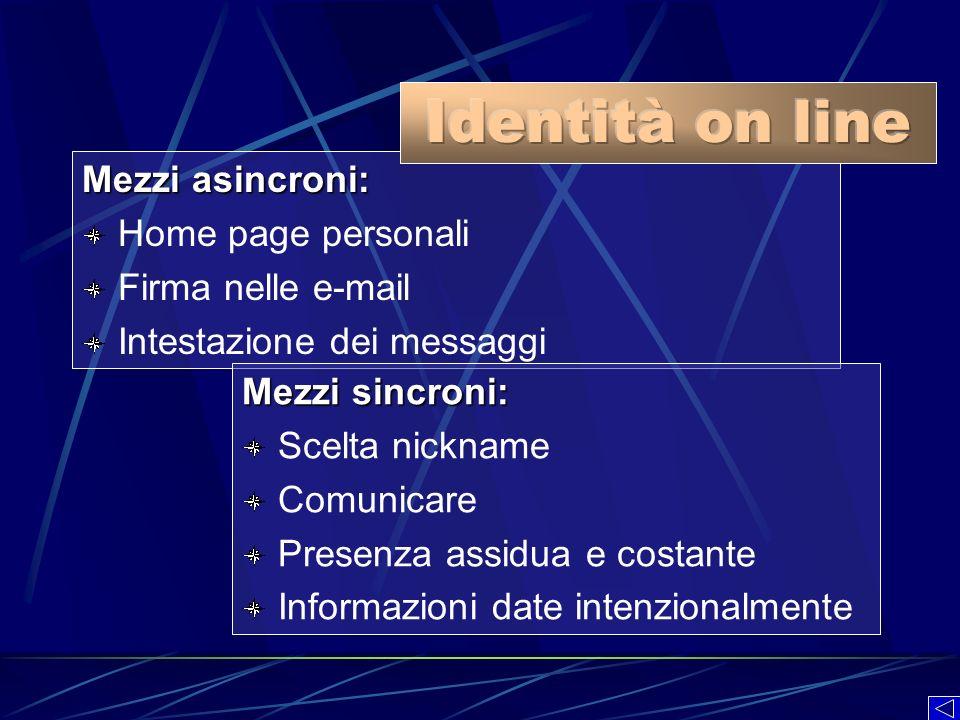 Identità on line Mezzi asincroni: Home page personali