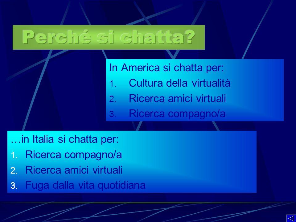 Perché si chatta In America si chatta per: Cultura della virtualità