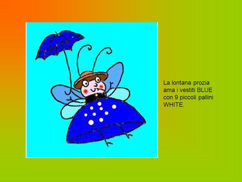 La lontana prozia ama i vestiti BLUE con 9 piccoli pallini WHITE.