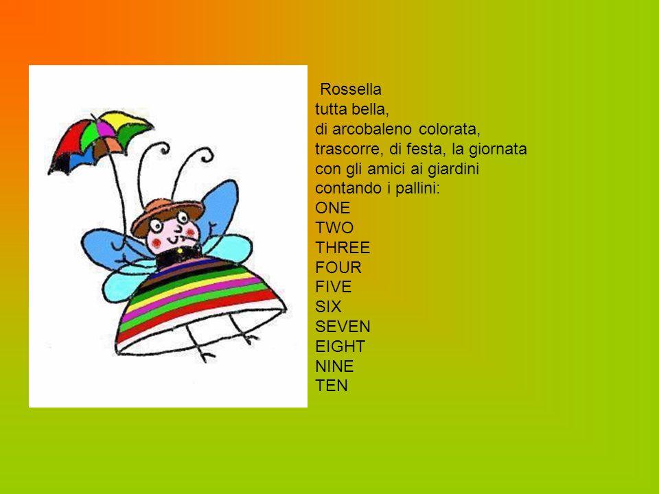 Rossella tutta bella, di arcobaleno colorata, trascorre, di festa, la giornata. con gli amici ai giardini.
